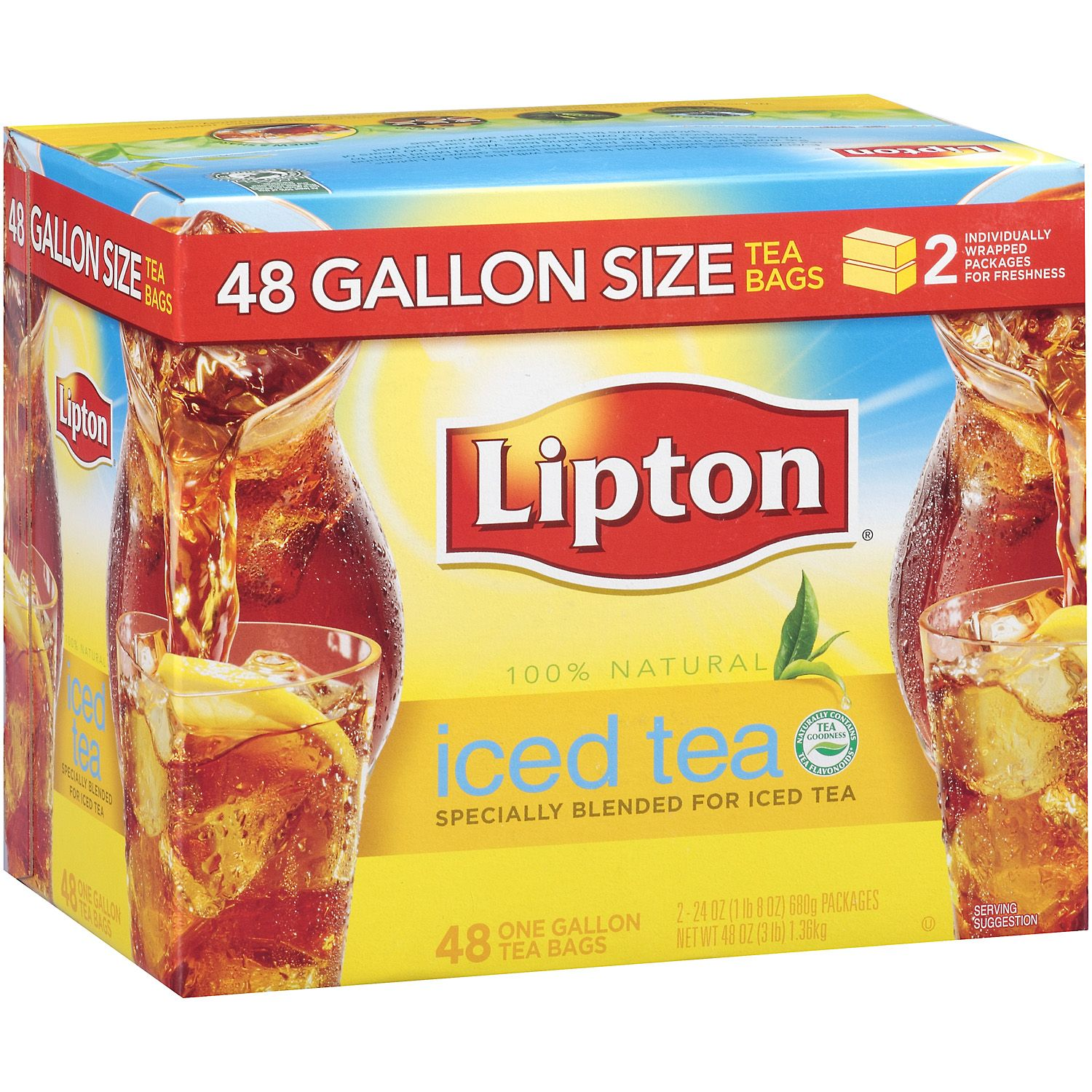 LIPTON ICED TEA GALLON SIZE TEA BAGS 48CS