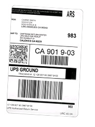 A.R.S PRE-PAID SHIPPING LABEL FOR RECYCLING OF INKJET AND